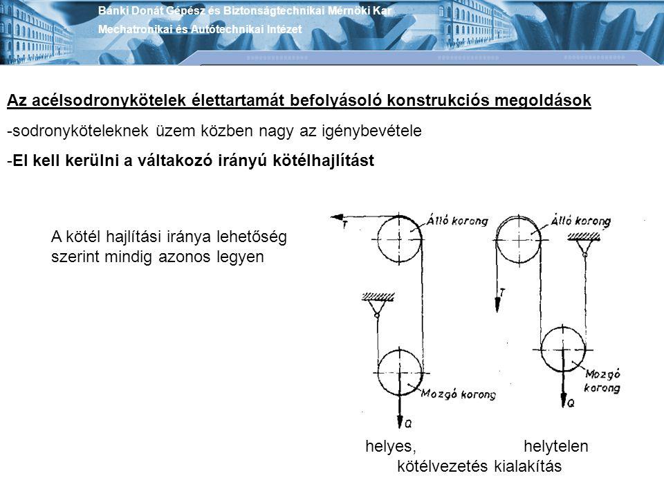 Bánki Donát Gépész és Biztonságtechnikai Mérnöki Kar Mechatronikai és Autótechnikai Intézet Az acélsodronykötelek élettartamát befolyásoló konstrukció