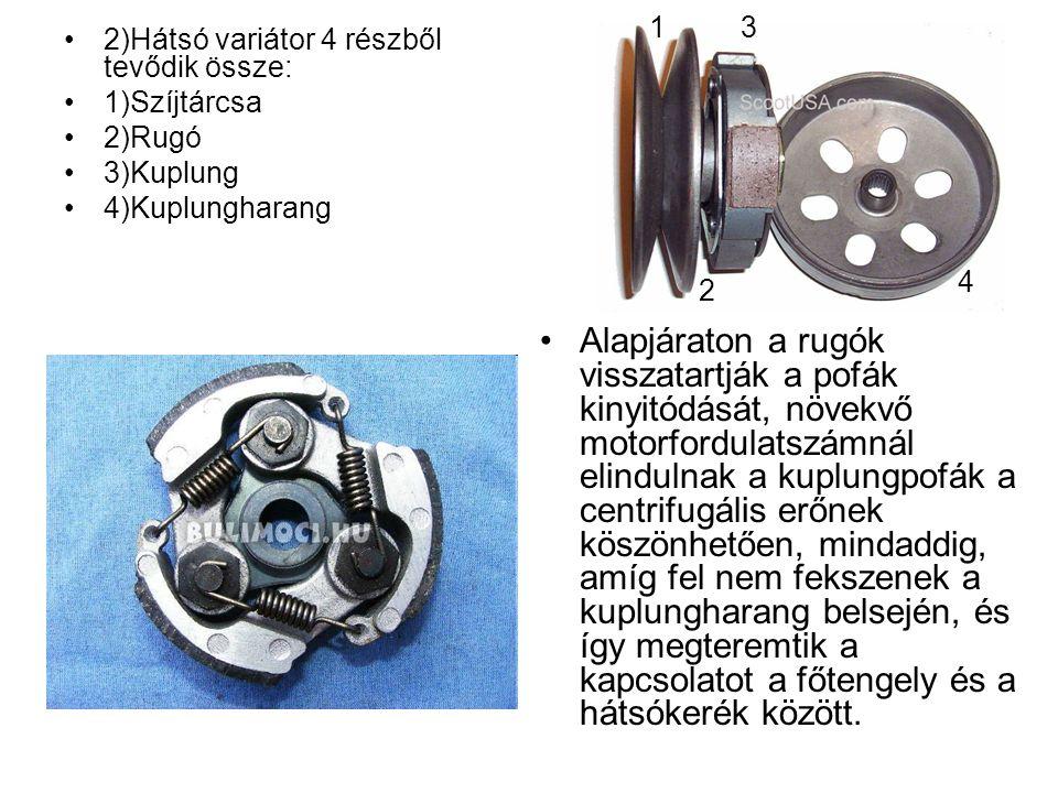 2)Hátsó variátor 4 részből tevődik össze: 1)Szíjtárcsa 2)Rugó 3)Kuplung 4)Kuplungharang Alapjáraton a rugók visszatartják a pofák kinyitódását, növekv