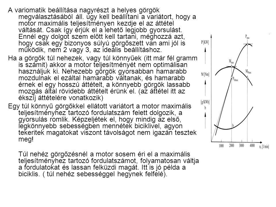 A variomatik beállítása nagyrészt a helyes görgök megválasztásából áll. úgy kell beállítani a variátort, hogy a motor maximális teljesítményen kezdje