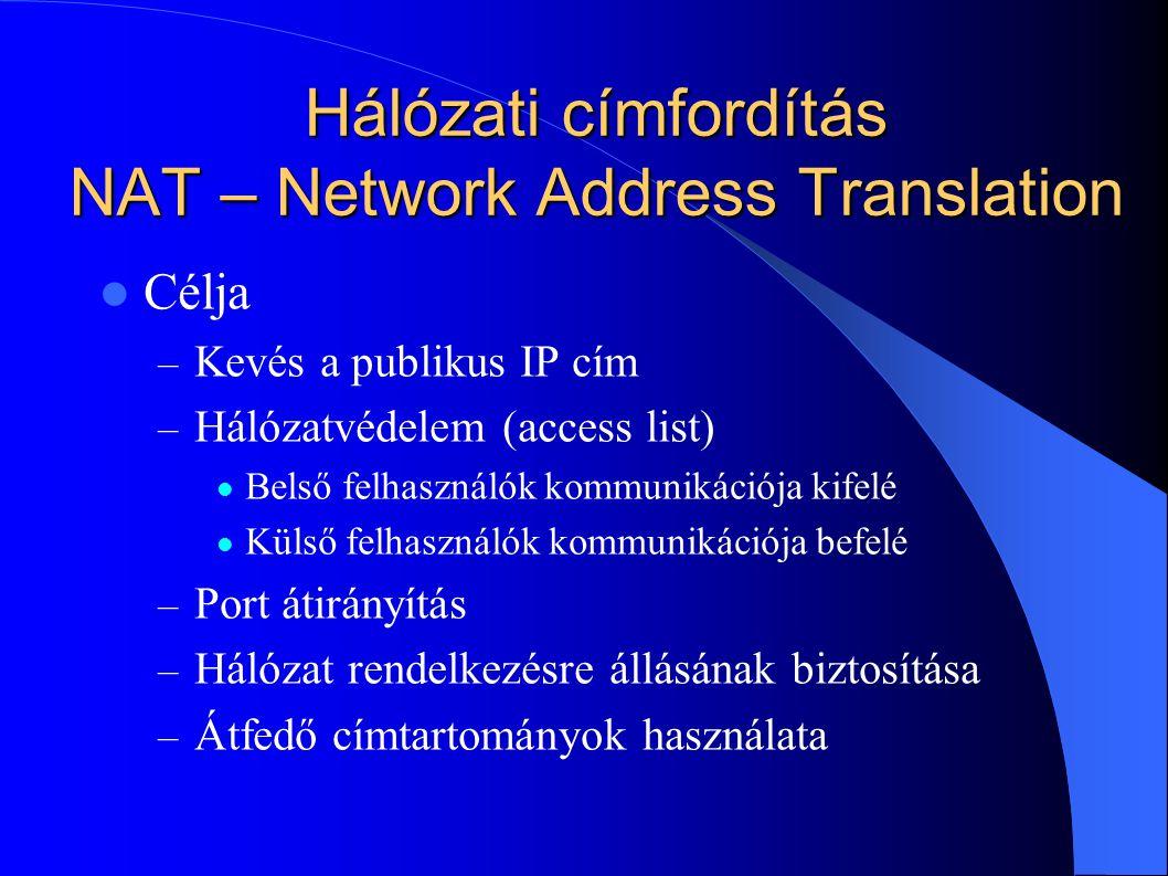 Hálózati címfordítás NAT – Network Address Translation Célja – Kevés a publikus IP cím – Hálózatvédelem (access list) Belső felhasználók kommunikációja kifelé Külső felhasználók kommunikációja befelé – Port átirányítás – Hálózat rendelkezésre állásának biztosítása – Átfedő címtartományok használata
