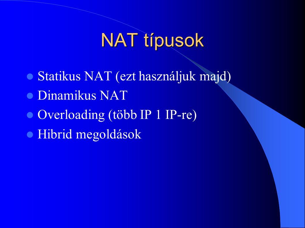 NAT típusok Statikus NAT (ezt használjuk majd) Dinamikus NAT Overloading (több IP 1 IP-re) Hibrid megoldások