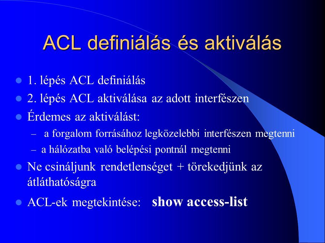 ACL definiálás és aktiválás 1.lépés ACL definiálás 2.