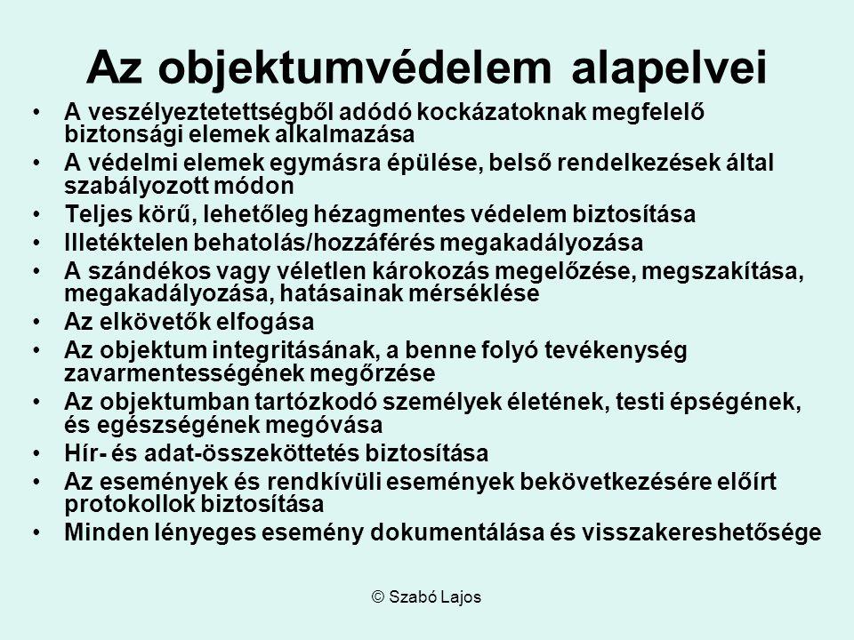 © Szabó Lajos Az objektumvédelem alapelvei A veszélyeztetettségből adódó kockázatoknak megfelelő biztonsági elemek alkalmazása A védelmi elemek egymás
