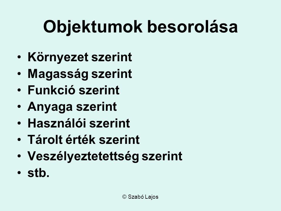 © Szabó Lajos Objektumok besorolása Környezet szerint Magasság szerint Funkció szerint Anyaga szerint Használói szerint Tárolt érték szerint Veszélyez