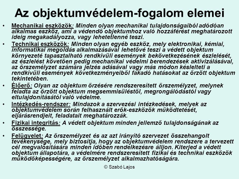 © Szabó Lajos Az objektumvédelem-fogalom elemei Mechanikai eszközök: Minden olyan mechanikai tulajdonságaiból adódóan alkalmas eszköz, ami a védendő o