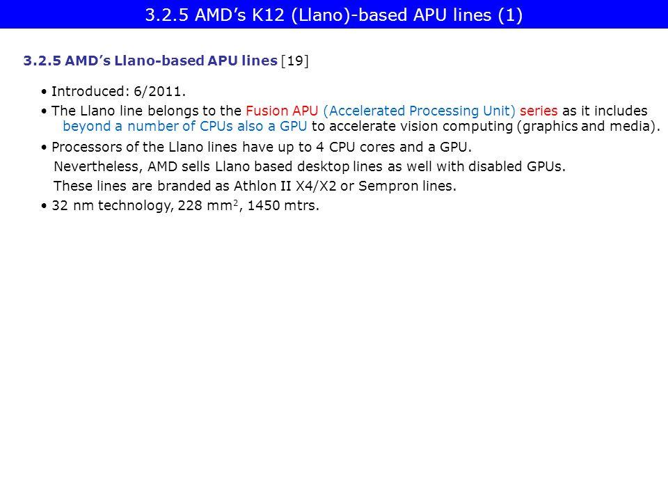 3.2.5 AMD's K12 (Llano)-based APU lines (1) 3.2.5 AMD's Llano-based APU lines [19] Introduced: 6/2011. The Llano line belongs to the Fusion APU (Accel