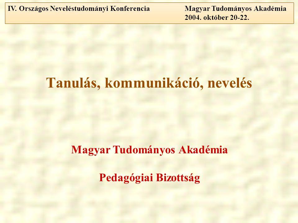 Tanulás, kommunikáció, nevelés Magyar Tudományos Akadémia Pedagógiai Bizottság IV.