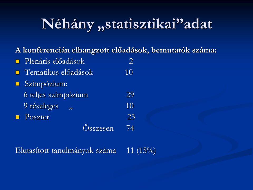 """Néhány """"statisztikai""""adat A konferencián elhangzott előadások, bemutatók száma: Plenáris előadások 2 Plenáris előadások 2 Tematikus előadások 10 Temat"""