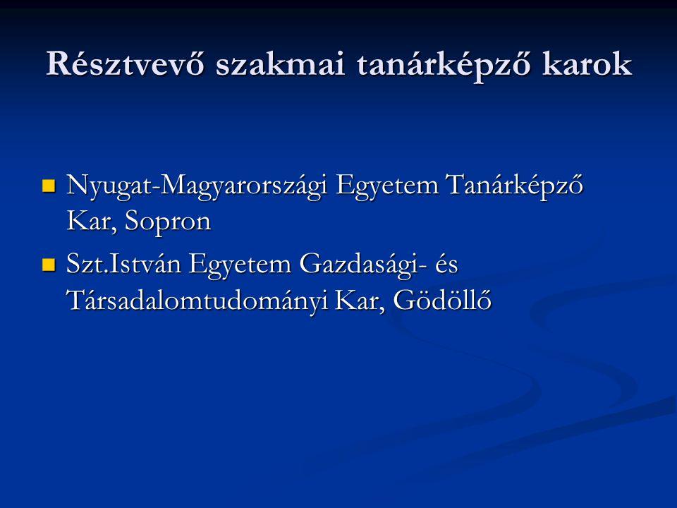Résztvevő szakmai tanárképző karok Nyugat-Magyarországi Egyetem Tanárképző Kar, Sopron Nyugat-Magyarországi Egyetem Tanárképző Kar, Sopron Szt.István