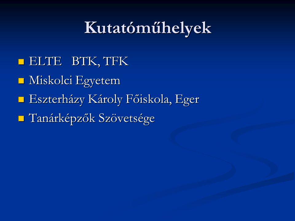Kutatóműhelyek ELTE BTK, TFK ELTE BTK, TFK Miskolci Egyetem Miskolci Egyetem Eszterházy Károly Főiskola, Eger Eszterházy Károly Főiskola, Eger Tanárké