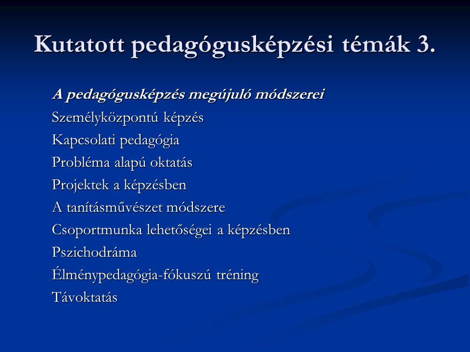 Kutatott pedagógusképzési témák 3. A pedagógusképzés megújuló módszerei Személyközpontú képzés Kapcsolati pedagógia Probléma alapú oktatás Projektek a