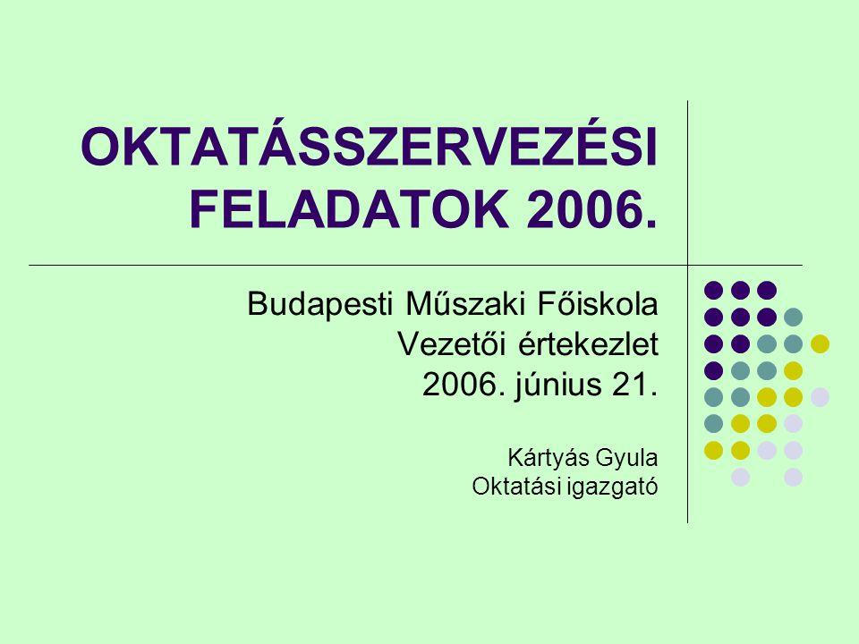 OKTATÁSSZERVEZÉSI FELADATOK 2006. Budapesti Műszaki Főiskola Vezetői értekezlet 2006. június 21. Kártyás Gyula Oktatási igazgató