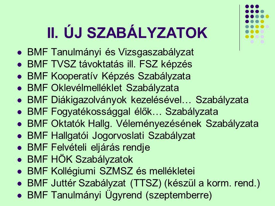 II. ÚJ SZABÁLYZATOK BMF Tanulmányi és Vizsgaszabályzat BMF TVSZ távoktatás ill.