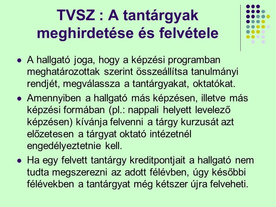 TVSZ : A tantárgyak meghirdetése és felvétele A hallgató joga, hogy a képzési programban meghatározottak szerint összeállítsa tanulmányi rendjét, megválassza a tantárgyakat, oktatókat.