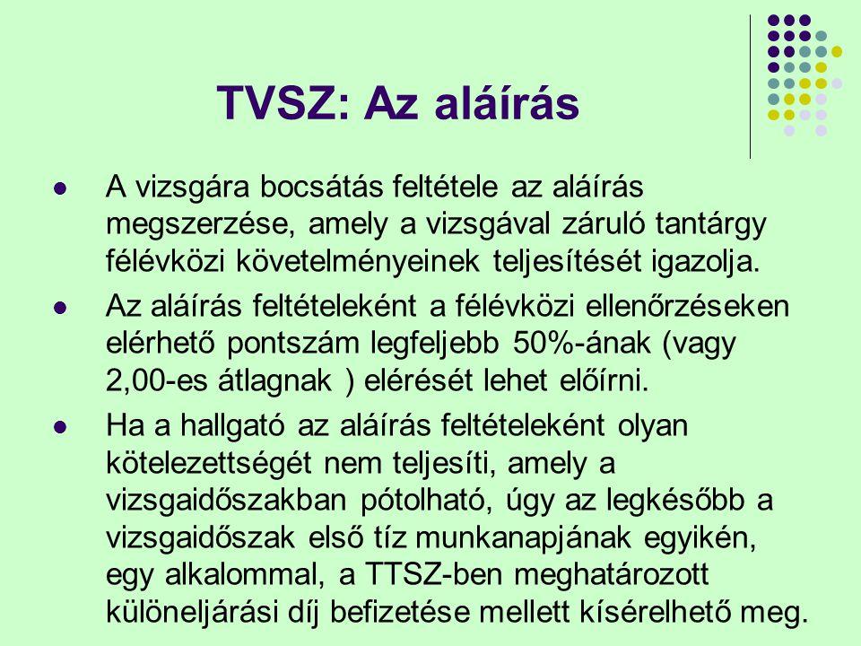 TVSZ: Az aláírás A vizsgára bocsátás feltétele az aláírás megszerzése, amely a vizsgával záruló tantárgy félévközi követelményeinek teljesítését igazo