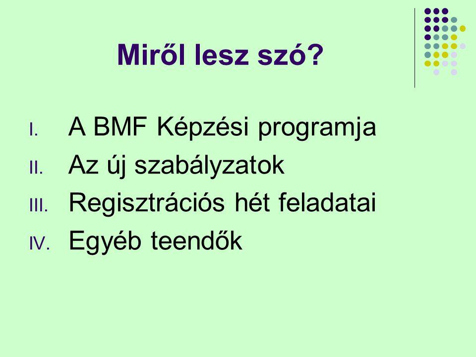 Miről lesz szó? I. A BMF Képzési programja II. Az új szabályzatok III. Regisztrációs hét feladatai IV. Egyéb teendők