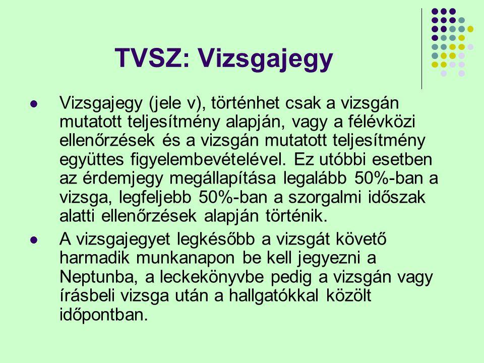 TVSZ: Vizsgajegy Vizsgajegy (jele v), történhet csak a vizsgán mutatott teljesítmény alapján, vagy a félévközi ellenőrzések és a vizsgán mutatott teljesítmény együttes figyelembevételével.