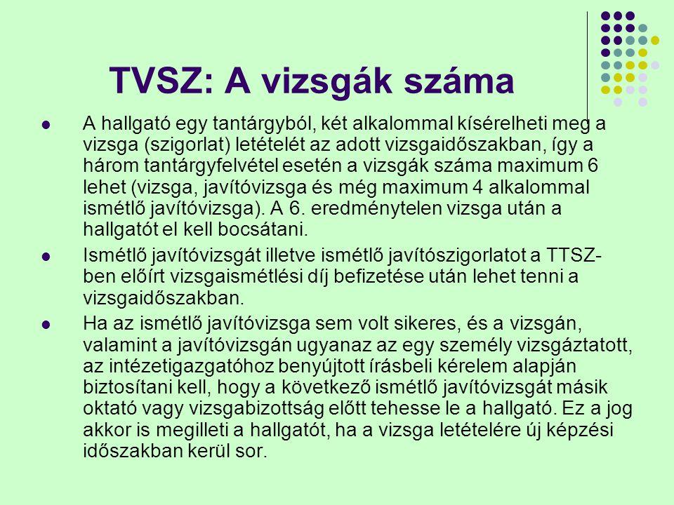 TVSZ: A vizsgák száma A hallgató egy tantárgyból, két alkalommal kísérelheti meg a vizsga (szigorlat) letételét az adott vizsgaidőszakban, így a három
