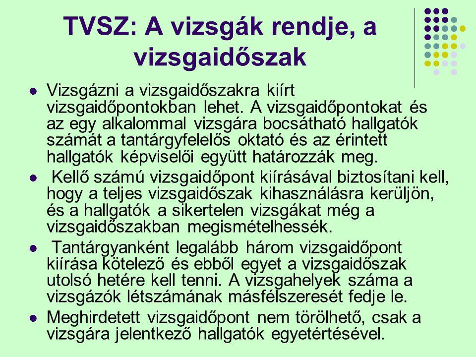 TVSZ: A vizsgák rendje, a vizsgaidőszak Vizsgázni a vizsgaidőszakra kiírt vizsgaidőpontokban lehet. A vizsgaidőpontokat és az egy alkalommal vizsgára