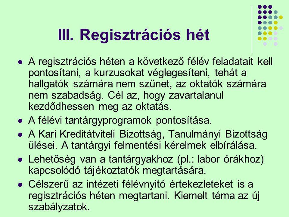 III. Regisztrációs hét A regisztrációs héten a következő félév feladatait kell pontosítani, a kurzusokat véglegesíteni, tehát a hallgatók számára nem
