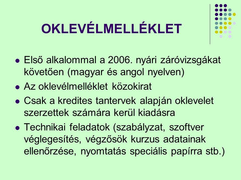 OKLEVÉLMELLÉKLET Első alkalommal a 2006. nyári záróvizsgákat követően (magyar és angol nyelven) Az oklevélmelléklet közokirat Csak a kredites tanterve