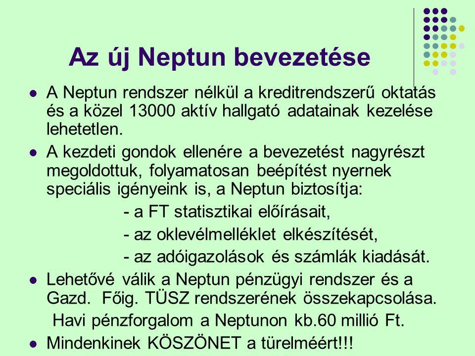 Az új Neptun bevezetése A Neptun rendszer nélkül a kreditrendszerű oktatás és a közel 13000 aktív hallgató adatainak kezelése lehetetlen.