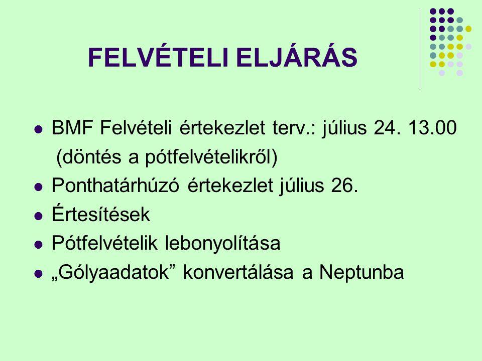 FELVÉTELI ELJÁRÁS BMF Felvételi értekezlet terv.: július 24. 13.00 (döntés a pótfelvételikről) Ponthatárhúzó értekezlet július 26. Értesítések Pótfelv