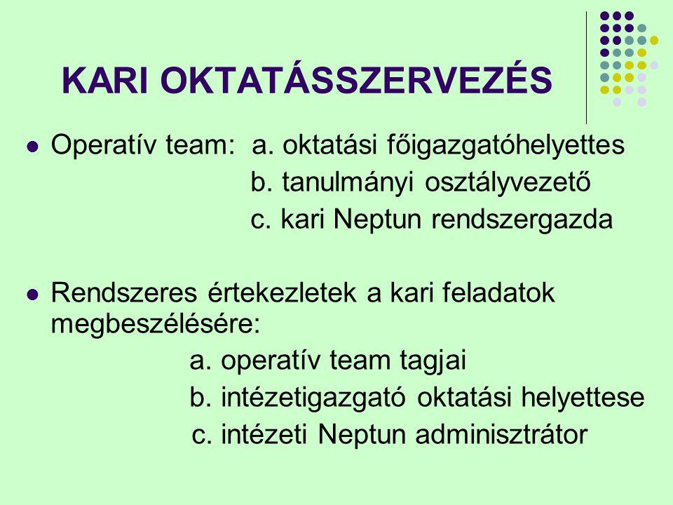 KARI OKTATÁSSZERVEZÉS Operatív team: a. oktatási főigazgatóhelyettes b. tanulmányi osztályvezető c. kari Neptun rendszergazda Rendszeres értekezletek