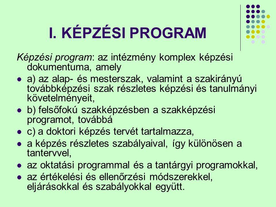 I. KÉPZÉSI PROGRAM Képzési program: az intézmény komplex képzési dokumentuma, amely a) az alap- és mesterszak, valamint a szakirányú továbbképzési sza
