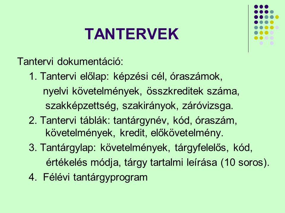 TANTERVEK Tantervi dokumentáció: 1.