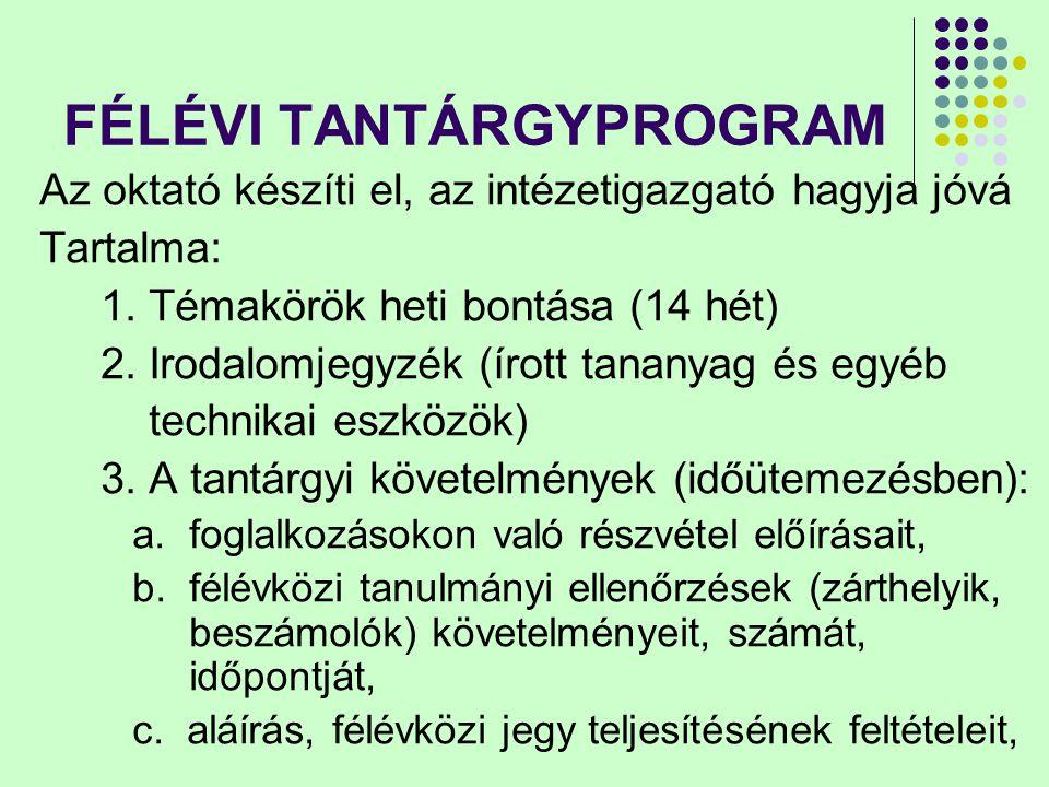 FÉLÉVI TANTÁRGYPROGRAM d.érdemjegy kialakításának módját, e.