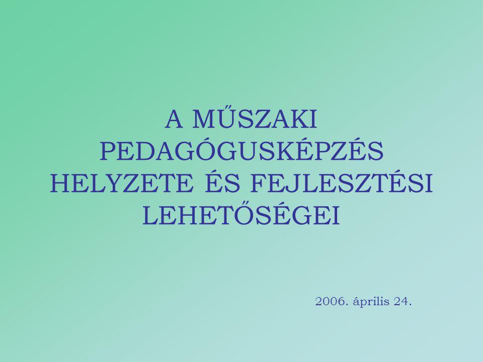 A MŰSZAKI PEDAGÓGUSKÉPZÉS HELYZETE ÉS FEJLESZTÉSI LEHETŐSÉGEI 2006. április 24.