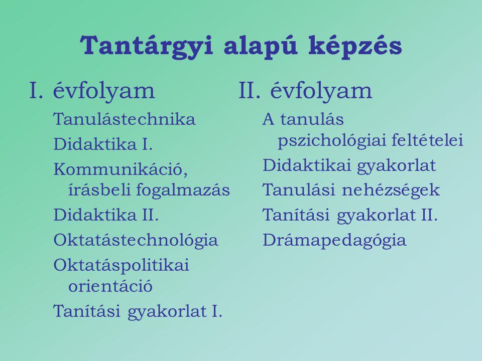 Tantárgyi alapú képzés I. évfolyam Tanulástechnika Didaktika I. Kommunikáció, írásbeli fogalmazás Didaktika II. Oktatástechnológia Oktatáspolitikai or