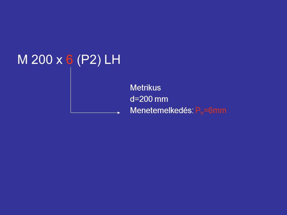 M 200 x 6 (P2) LH Metrikus d=200 mm Menetemelkedés: P h =6mm