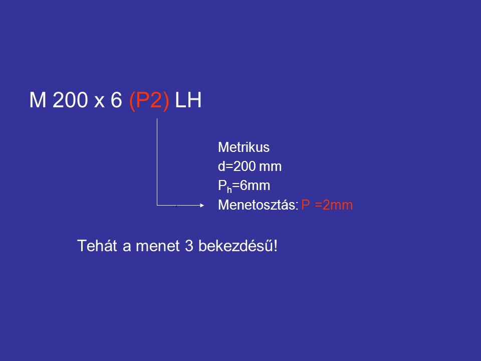 M 200 x 6 (P2) LH Metrikus d=200 mm P h =6mm Menetosztás: P =2mm Tehát a menet 3 bekezdésű!