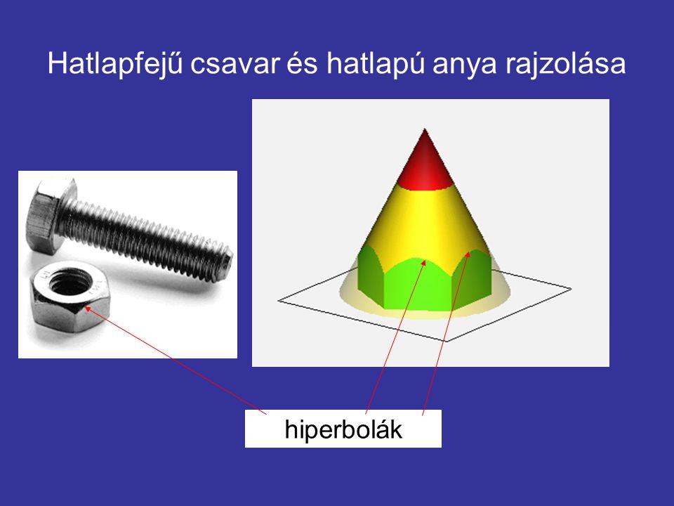 Hatlapfejű csavar és hatlapú anya rajzolása hiperbolák