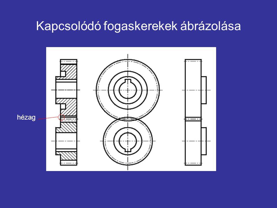 Kapcsolódó fogaskerekek ábrázolása hézag