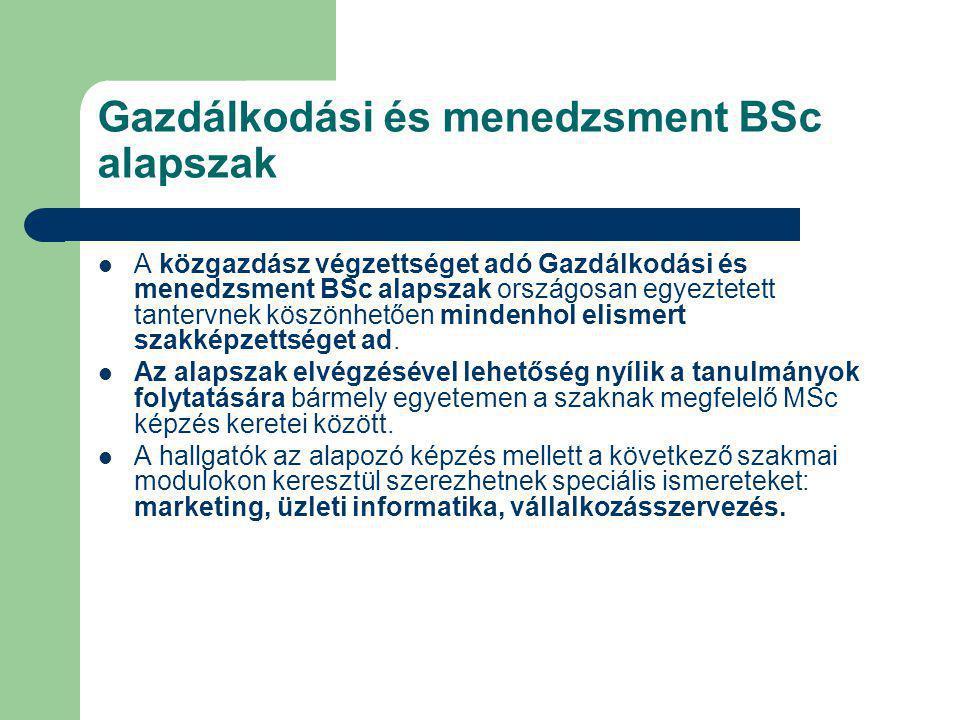 Gazdálkodási és menedzsment BSc alapszak A közgazdász végzettséget adó Gazdálkodási és menedzsment BSc alapszak országosan egyeztetett tantervnek kösz