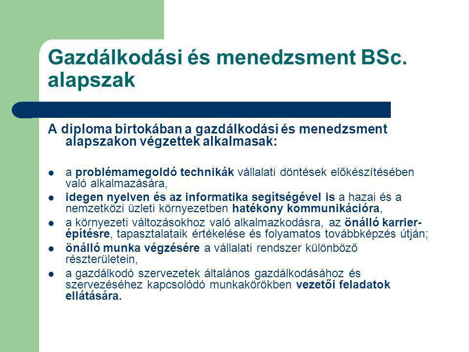 Gazdálkodási és menedzsment BSc. alapszak A diploma birtokában a gazdálkodási és menedzsment alapszakon végzettek alkalmasak: a problémamegoldó techni