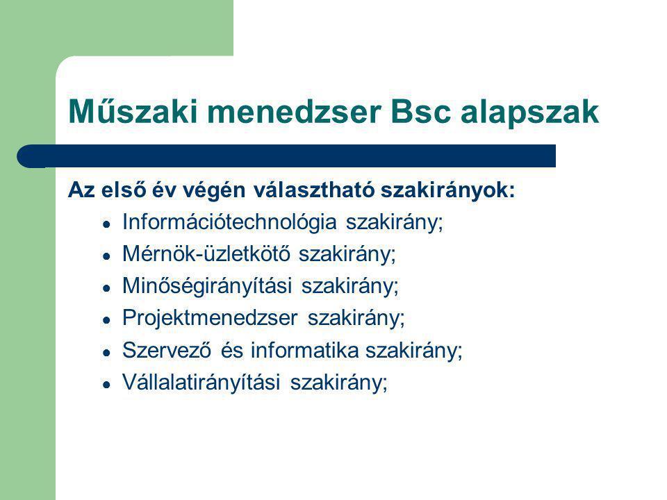 Műszaki menedzser Bsc alapszak Az első év végén választható szakirányok: ● Információtechnológia szakirány; ● Mérnök-üzletkötő szakirány; ● Minőségirá