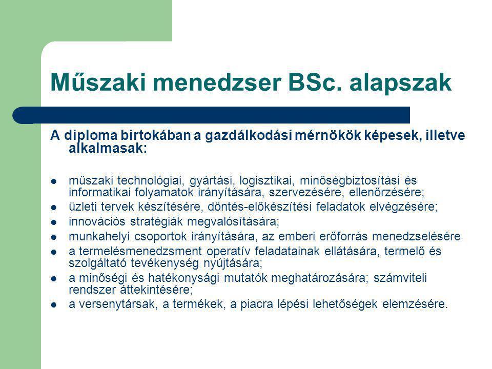 Műszaki menedzser BSc. alapszak A diploma birtokában a gazdálkodási mérnökök képesek, illetve alkalmasak: műszaki technológiai, gyártási, logisztikai,