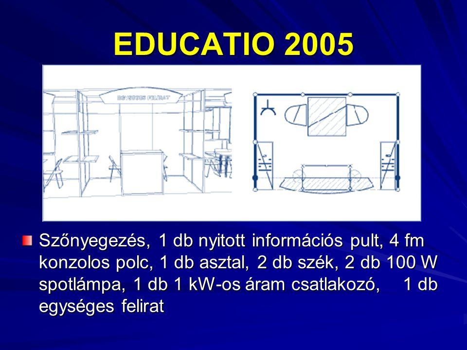 EDUCATIO 2005 Szőnyegezés, 1 db nyitott információs pult, 4 fm konzolos polc, 1 db asztal, 2 db szék, 2 db 100 W spotlámpa, 1 db 1 kW-os áram csatlakozó, 1 db egységes felirat