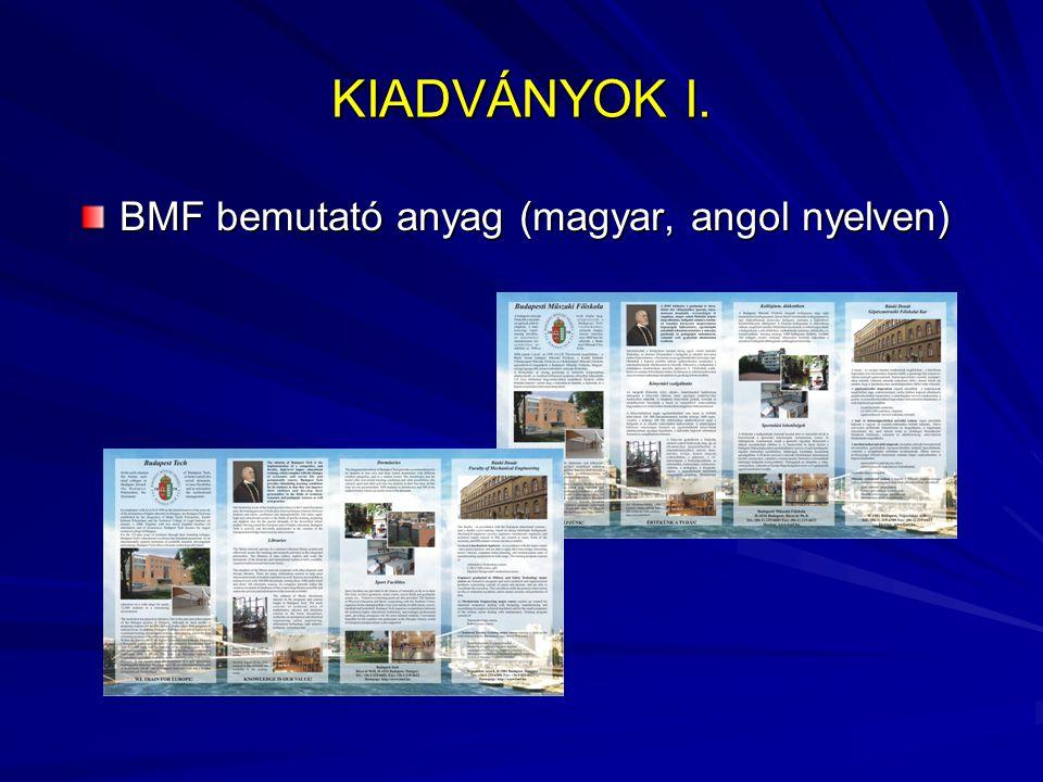 KIADVÁNYOK I. BMF bemutató anyag (magyar, angol nyelven)