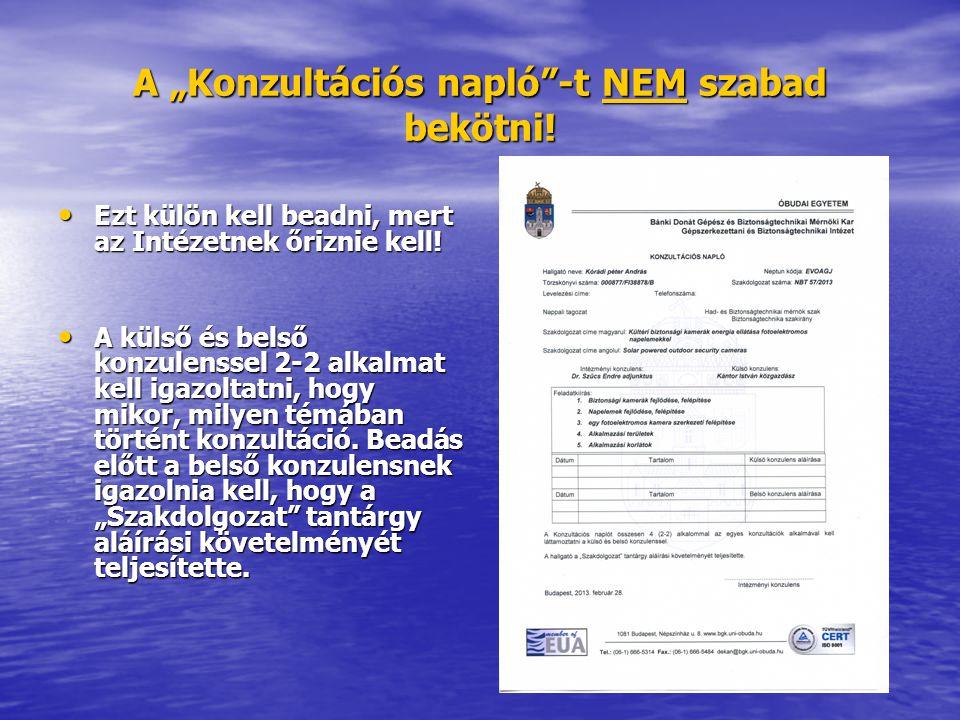 Az alábbi konzulensi felkéréseket nem kell a dolgozatba bekötni, hanem át kell adni a Konzulenseknek.