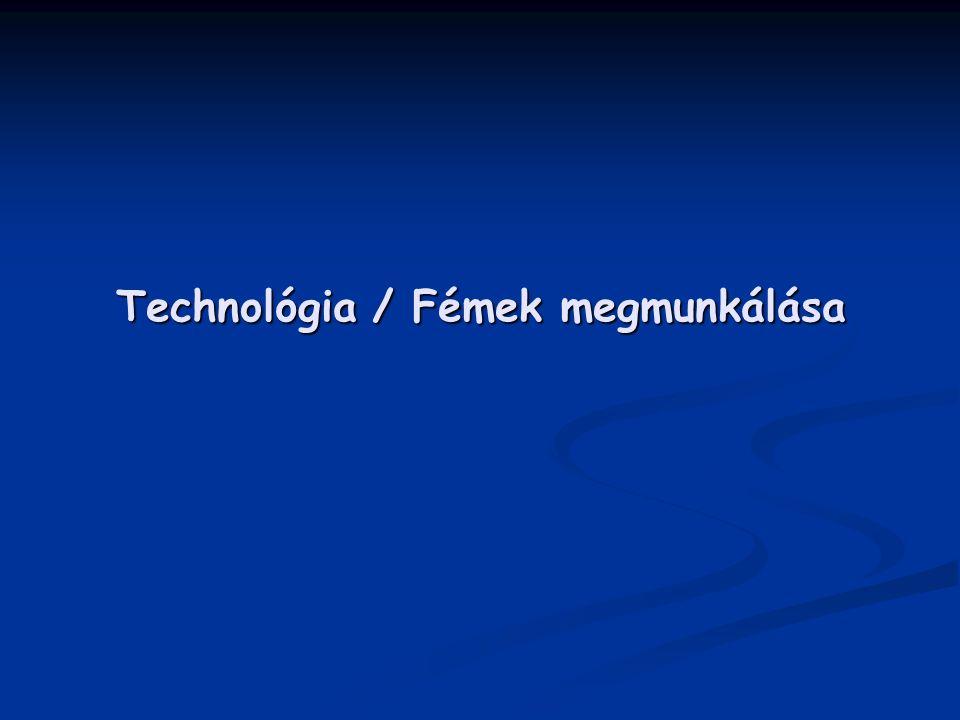 Anyagkörfolyamat Ahhoz, hogy a technológia fogalmát megértsük a Földön található anyagok folyamatos átalakulását, átalakítását kell megértenünk: FÖLD FÖLD ↓ pl.: bányatechnológia nyersanyag (ércek, természetes anyagok, stb.) nyersanyag (ércek, természetes anyagok, stb.) ↓ pl.: kohászati technológia szerkezeti anyag (fémek, kerámiák, műanyagok, stb.) szerkezeti anyag (fémek, kerámiák, műanyagok, stb.) ↓ pl.: gyártástechnológia műszaki termék műszaki termék ↓ műszaki funkció, üzemeltetés hulladék hulladék ↓ tárolás FÖLD v.
