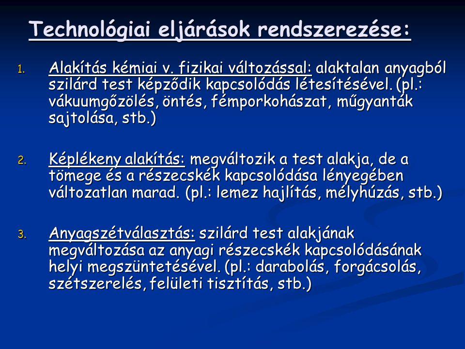 Technológiai eljárások rendszerezése: 1. Alakítás kémiai v. fizikai változással: alaktalan anyagból szilárd test képződik kapcsolódás létesítésével. (