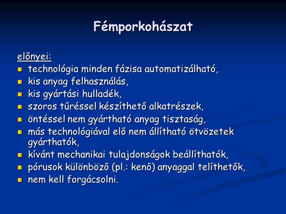 Fémporkohászat előnyei: technológia minden fázisa automatizálható, technológia minden fázisa automatizálható, kis anyag felhasználás, kis anyag felhas