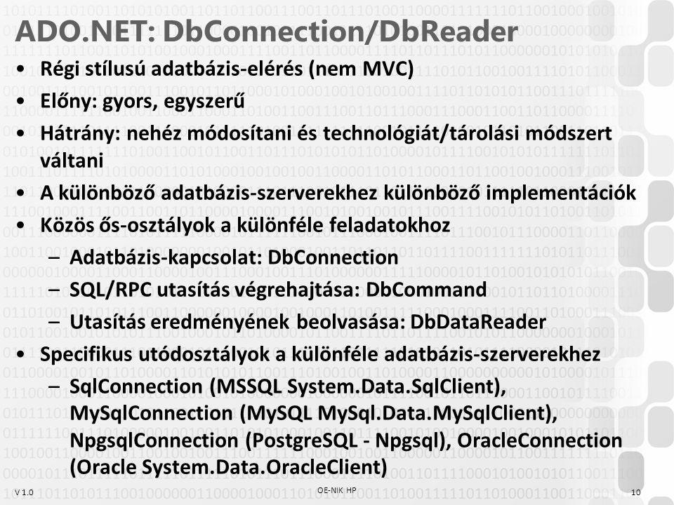 V 1.0 ADO.NET: DbConnection/DbReader Régi stílusú adatbázis-elérés (nem MVC) Előny: gyors, egyszerű Hátrány: nehéz módosítani és technológiát/tárolási