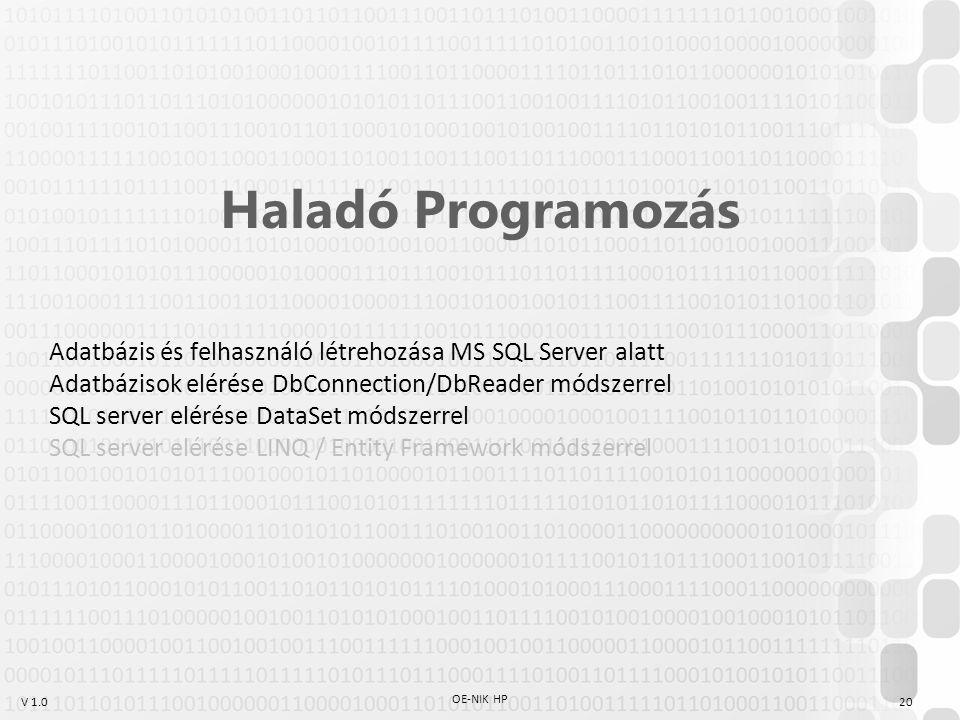 V 1.0 OE-NIK HP 20 Haladó Programozás Adatbázis és felhasználó létrehozása MS SQL Server alatt Adatbázisok elérése DbConnection/DbReader módszerrel SQ