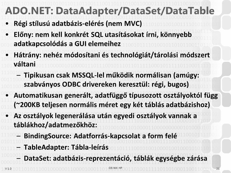 V 1.0 ADO.NET: DataAdapter/DataSet/DataTable Régi stílusú adatbázis-elérés (nem MVC) Előny: nem kell konkrét SQL utasításokat írni, könnyebb adatkapcs